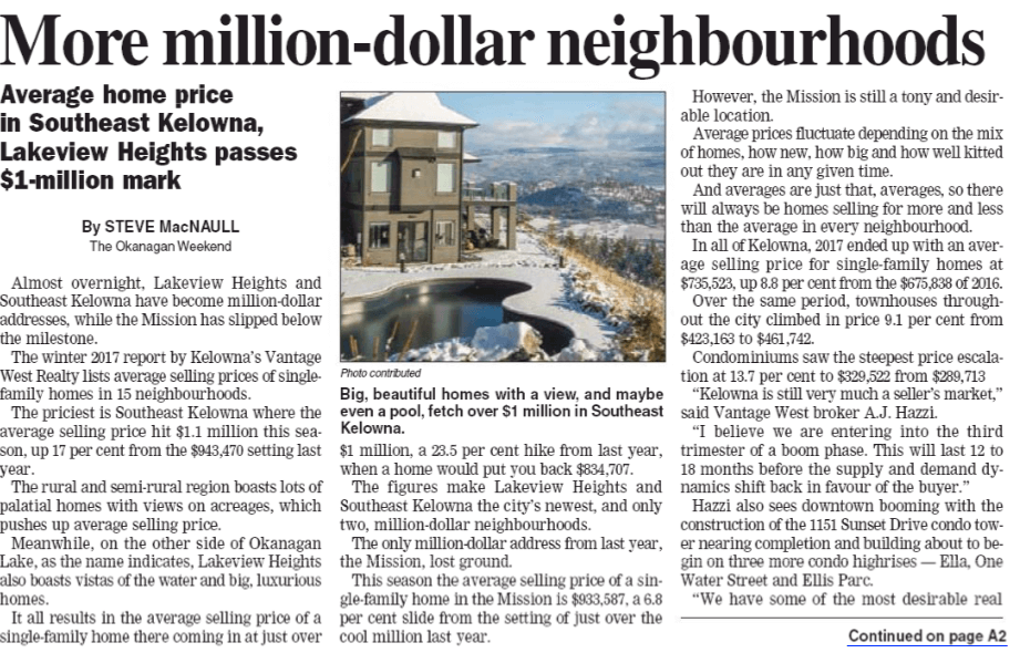 TheKelowna Couriernewspaperreports on Kelowna's million-dollar neighbourhoods